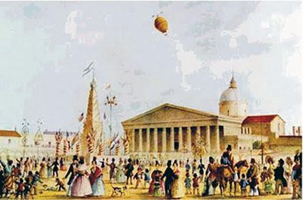 Carlos E. Pellegrini:Fiestas mayas. Buenos Aires. (Litografía. 1841).